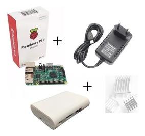 Kit Rasp Pi3 Model B+fonte+case+ Dissipador+sd 16gb