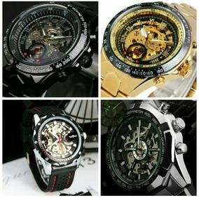 Promoção Relógio Masculino Dourado Original Automático Aço