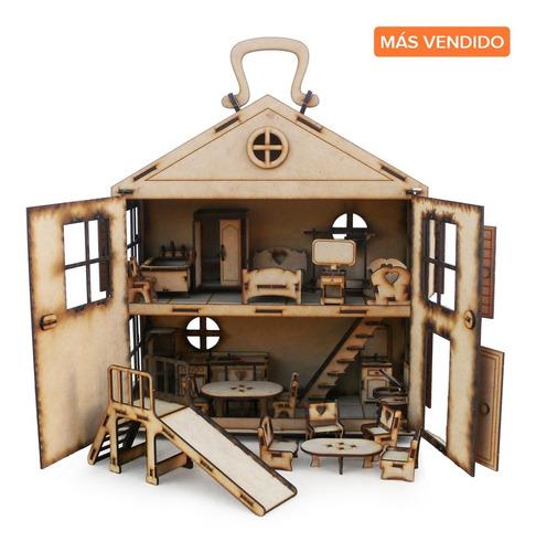 Casita Valija Fibrofacil Casa + 32 Muebles + Tobogan Oferta!