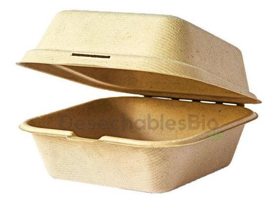 50 Contenedores Almeja 6x6x3 Biodegradable Bagazo De Trigo