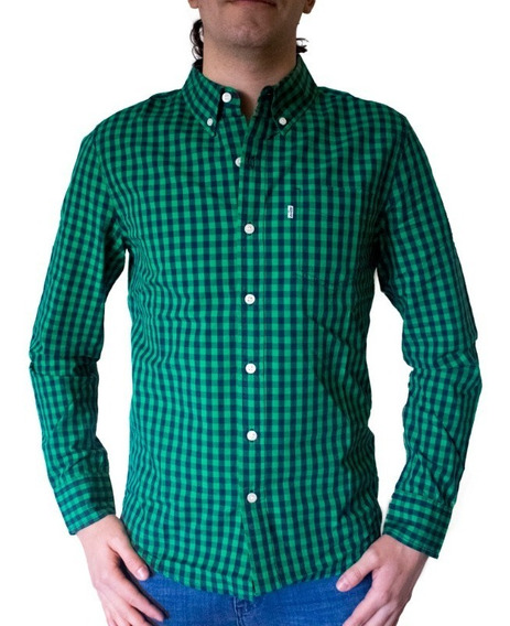 Camisa Hombre Classic One Pocket Slim Fit Verde Y Azul