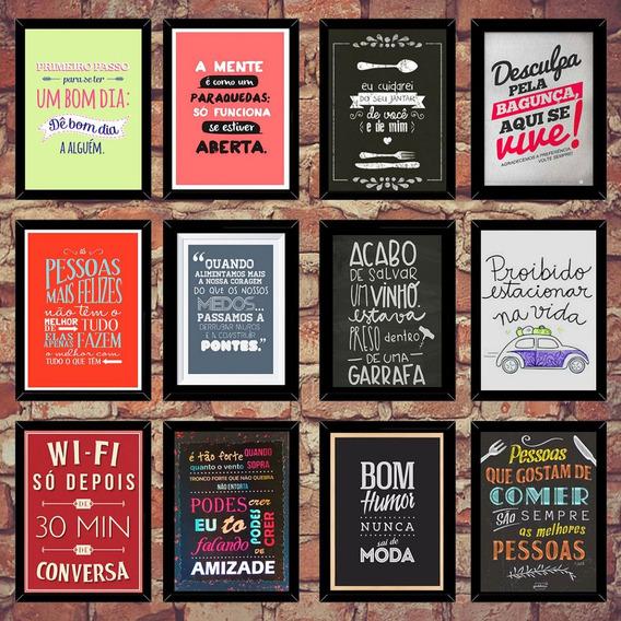 Kit 24 Quadrinhos Retro Gravuras Placas Decorativas 20x14