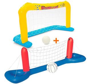 Rede Volei E Trave Futebol Polo Inflável Piscina Bestway