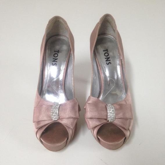Sapato Peep Toe Tons 35 Cetim Rosa (em Até 12x Sem Juros)
