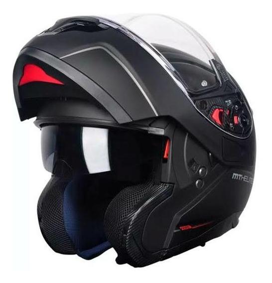 Capacete Mt Helmets Atom Articulado Preto Fosco Tam. 60