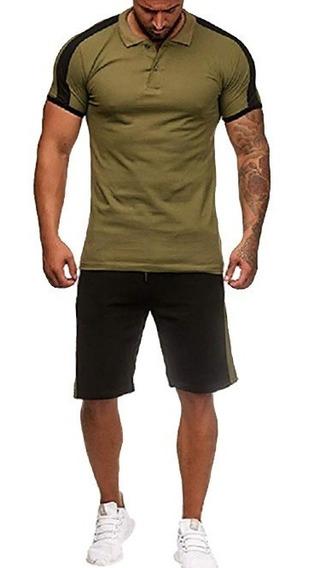 Camisa Contrastar Collar Tee + Pantalones Cortos