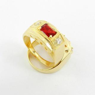 Anel Masculino Aro 26 Vermelho Folheado Ouro An170