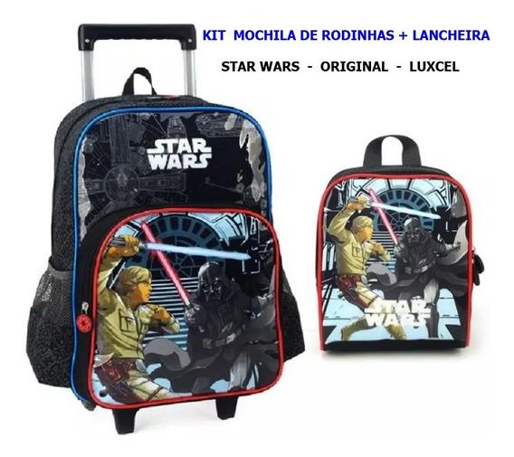 Mochila De Rodinhas Star Wars + Lancheira - Original Luxcel