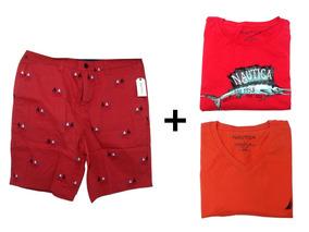 Kit Com 3 Peças Nautica 2 Camisas E 1 Bermuda Tamanho G