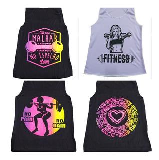 Kit 10 Regatas Feminina Fitness Academia Ginástica Promoção