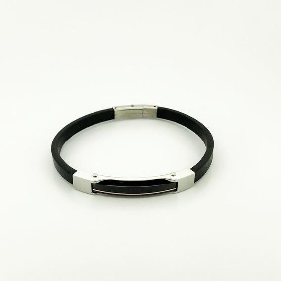Bracelete Rosso Couro 21,5cm Preto