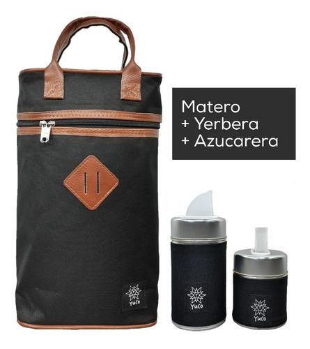 Equipo De Mate Set Matero   Bolso + Latas   Negro   Yuco