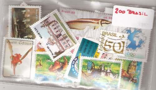 Lote De 200 Estampillas De Brasil Distintas ¡ Oferta !
