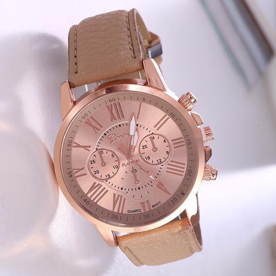 Relógio Feminino Rosê Pulseira Bege Rg001f Promoção!!!