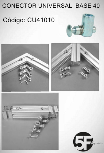 Imagem 1 de 7 de Conector Universal Para Perfil Estrutural Base 40/45