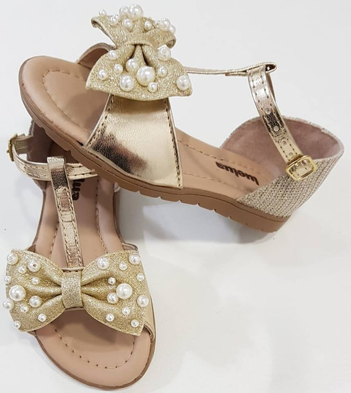 Sandália Dourada Luelua Infantil Feminina Nº 22 Ao 35