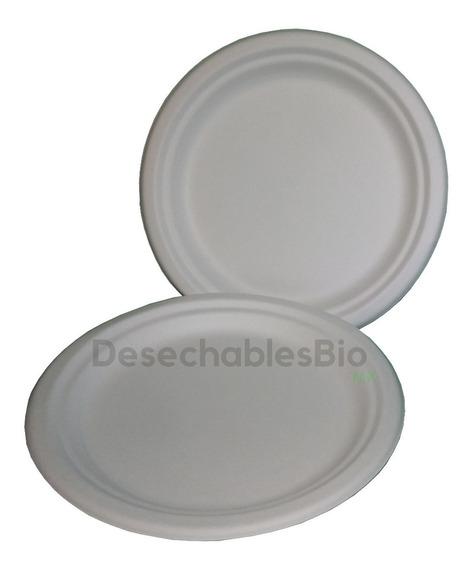 50 Platos Lisos Biodegradables De Bagazo De Caña 22 Cm