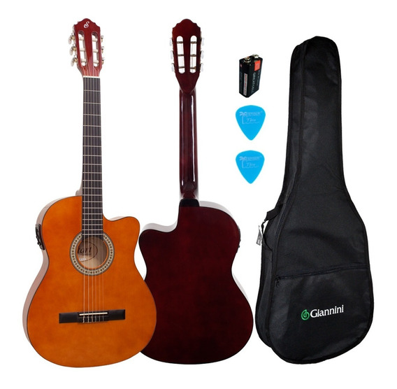 Kit Violão Flat Elétrico Nf14 Natural Nylon Giannini Bag