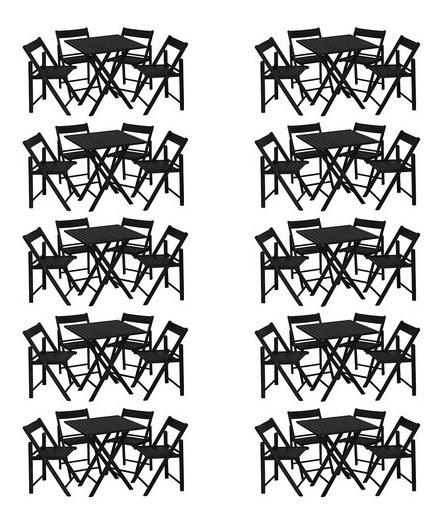 Kit 10 Jogos Mesa Com 4 Cadeiras Madeira Gourmet Black