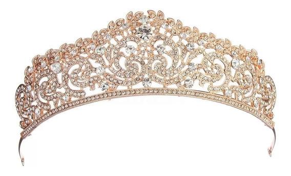 Tiara Ouro Rosê Strass Noivas Debutantes Cód. 02