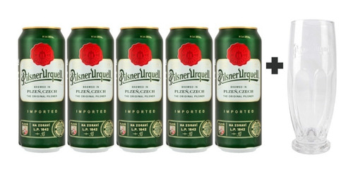 5 Pack De Cervezas Checas Pilsner Urquell 500ml + Vaso