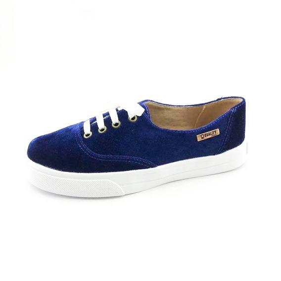 Tênis Quality Shoes Feminino 005 Veludo Azul Marinho