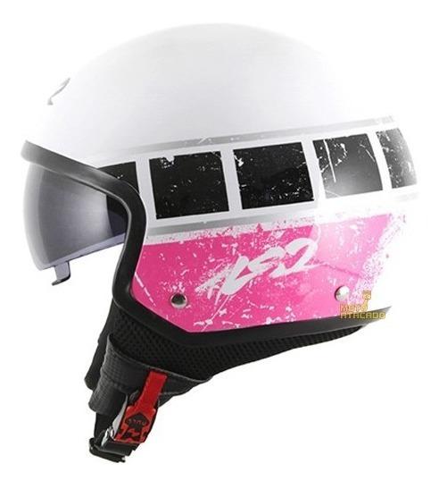 Capacete Aberto Ls2 Of561 Wave Rook Open Face Branco / Rosa