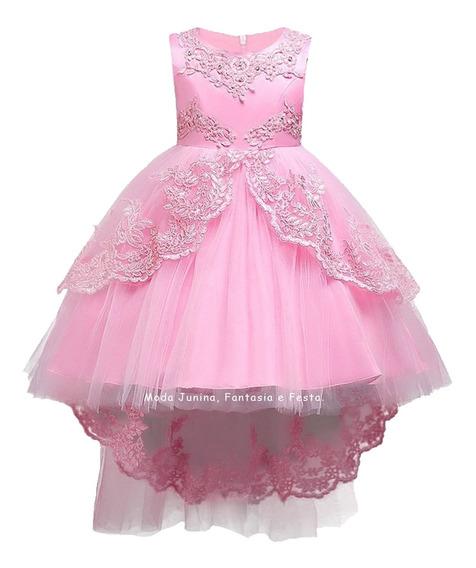 Vestido Infantil Princesa Aurora Luxo Bela Adormecida Rosa - Daminha Formatura Batizado Aniversário
