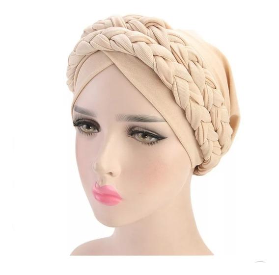Turbante Doble Trenza Delgada Alopecia Cáncer Quimio Adorno