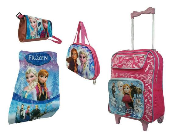 Mochila Escolar Frozen Infantil Kit Rodinhas Grande Promoção