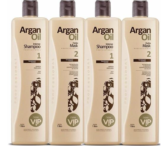 2 Kit Escova Progressiva Vip Argan Oil 4x1000ml 4 Produtos