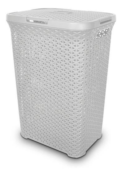 Canasto Cesto Plástico Ratán Alto C/tapa 60x45x34 Colombraro