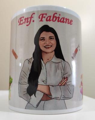 Caricatura Personalizada Estampada Em Caneca De Porcelana