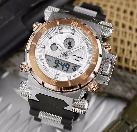 Relógio Grande Marca Infantry Lcd Digital Aço Luxo Esportivo
