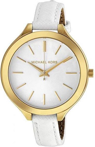 Relógio Fem Michael Kors Dourado Pulseira Couro Branc Mk2273