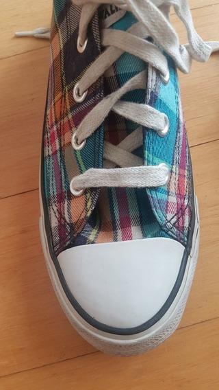 Zapatillas Estilo All Star Importadas N 38 1/2 Lona Cuadros