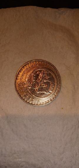 Moneda 20 Pesos Mexicanos 1982 Cultura Maya
