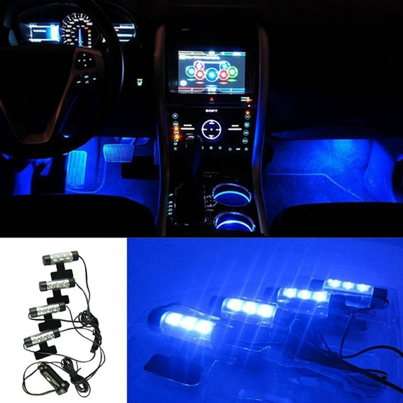 Led Neon Luz Azul + Adesivo Interno Acessorios Carro Tuning.
