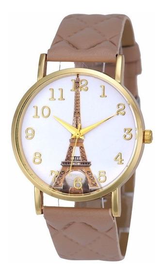 Relógio Feminino Bege Lindo Modelo Torre Eiffel Barato Top