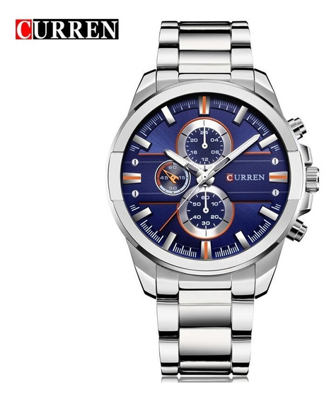 Relógio Masculino Curren Original De Azul Prata De Pulso