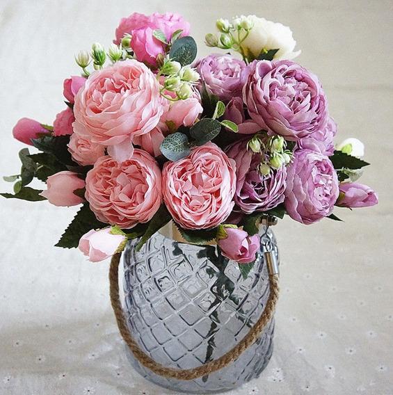Flores Peonias Artificiales Ramo Rosa Novia Boda Centro Mesa