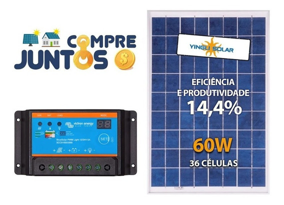 Kit Painel Placa Solar Fotovoltaica 60w + Controlador Carga