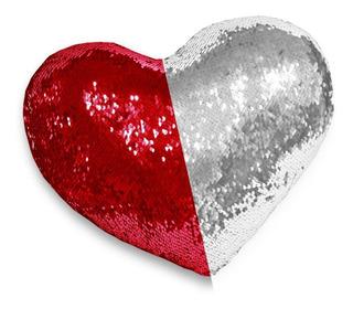 Cojín 29cm Corazón Lentejuelas Reversibles Dos Colores Amor
