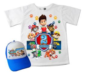 Camiseta Mas Gorra Combo Paw Patrol Patrulla Niños Algodón