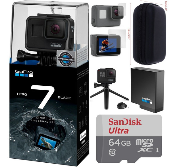 Gopro+ Cartão Ultra 64gb + Bateria + Case + Tripé + Película
