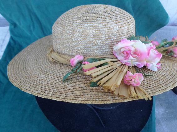 Sombrero De Mujer Tejido En Fibra Talle Universal M.b.estado
