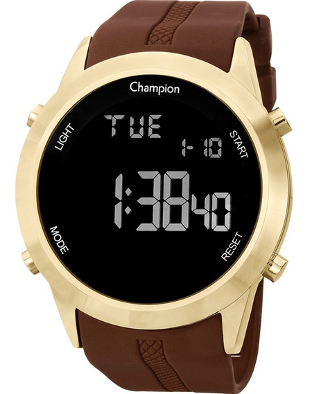 Relógio Champion Masculino Digital Silicone Dourado Marrom