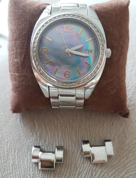 Relógio Feminino Guess Prata Com Fundo Azul