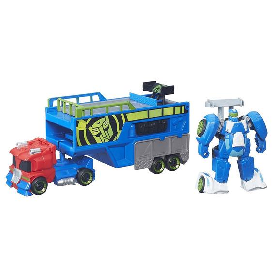 Transformers Rescue Bots Optimus Con Remolque Y Blurr 2 En 1