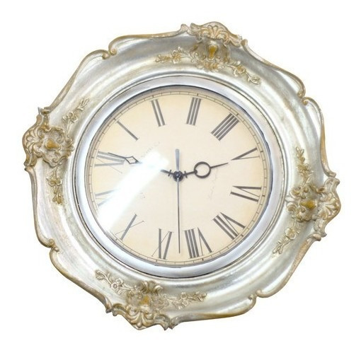 Relógio De Parede Retrô Vintage Veneze Branco Redondo - 6685